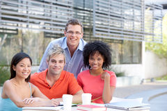 Students studying. Portrait of students studying outside Royalty Free Stock Photography