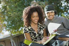 Students Studying On College Campus Stock Photography