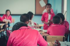 Students are studying in the elementary school classroom. Students are studying in the elementary school classroom of Thailand Stock Images