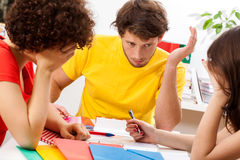 Students studying for exam Stock Image