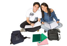 Students studying on the floor Stock Photography