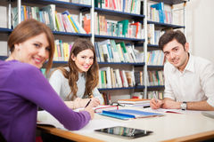 Students studying in a library Royalty Free Stock Photos