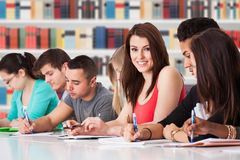 Students studying at library Royalty Free Stock Image