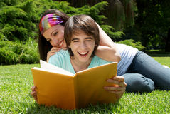 Students studying outdoors Stock Photos