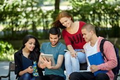 Students studying outside Royalty Free Stock Images