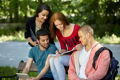 Students studying outside Stock Images