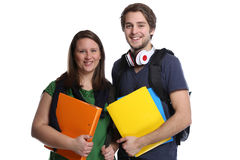 Students studying portrait smiling people isolated. On a white background Royalty Free Stock Photo