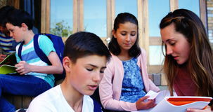 Students studying in school campus. Group of students studying in school campus stock video footage