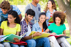Students studying together on campus Stock Photo