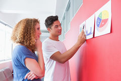 Students studying together with graphics on the wall Stock Photos