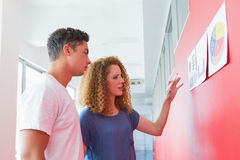 Students studying together with graphics on the wall Royalty Free Stock Image