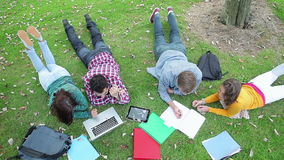Students studying together on the grass stock footage