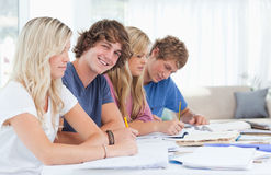 Students studying together with one man looking at the camera. A group of students sitting together as they study hard with one men looking at the camera and Royalty Free Stock Photos
