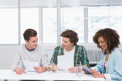 Students studying and using tablet pc Royalty Free Stock Photos