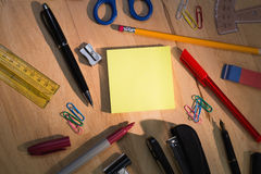 Students table with school supplies Royalty Free Stock Photography