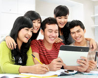 Students  with tablet Royalty Free Stock Photography