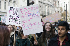 Students take part in a protest march against fees Stock Photo