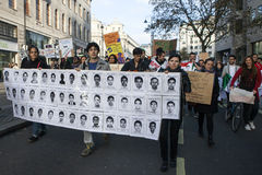 Students take part in a protest march against fees Royalty Free Stock Photo