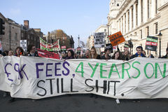 Students take part in a protest march against fees Stock Image