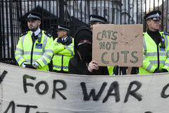 Students take part in a protest march against fees Stock Photos