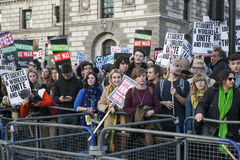 Students take part in a protest march against fees Royalty Free Stock Image