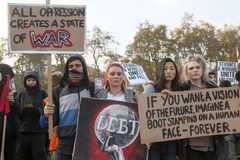 Students take part in a protest march against fees Royalty Free Stock Photography