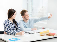 Students take a selfie picture in a classroom Royalty Free Stock Photos