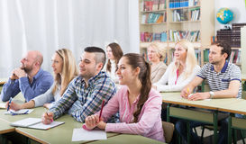 Students  taking active part in discussion Royalty Free Stock Photos