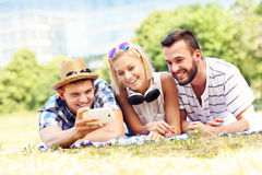 Students taking selfie in the park Stock Photo