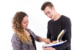 Students Talking After Class. Young College Students with Books Stock Photography