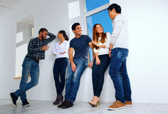 Students talking in hallway Royalty Free Stock Images