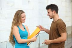 Students talking happy outdoor Stock Image