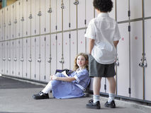Students Talking By School Lockers Royalty Free Stock Images