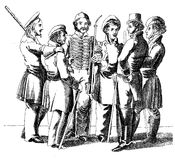 Students talking together, Leipzig early XIX century. Leipzig students, years 1820-1830 stock illustration
