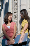Students talking on University Campus. A diverse group of multicultural students on campus. A photo of Hispanic and Asian students Stock Photo
