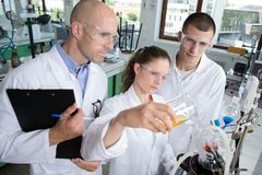 Students and teacher in biology training course. Students royalty free stock photos