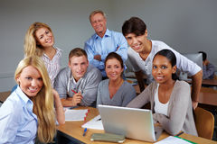 Students and teacher in course Stock Photo