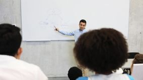 Students and teacher at white board on lecture stock video