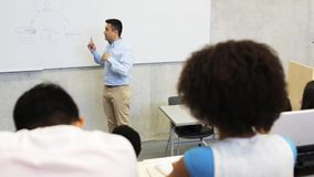 Students and teacher at white board on lecture stock footage