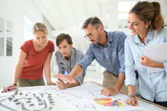 Students and teacher working on project Royalty Free Stock Photos