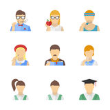 Students and teachers characters set. Vector collection of stylish student, teacher and other education characters in modern flat design style. Isolated on white Royalty Free Stock Photo