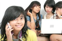 Students and technology. Confident cute student with friends Royalty Free Stock Image