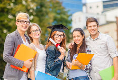Students or teenagers with files and diploma royalty free stock image
