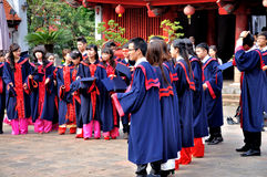 Students in temple of Literature,Hanoi,Vietnam. Students usually go to temple of Literature (Van Mieu) to wish a lucky thing in their studies Stock Photos