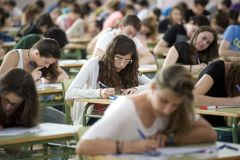 Students. During their college examination day in the island of Majorca, Spain