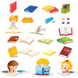 Students and their school supplies. Illustration of the students and their school supplies on a white background Stock Image