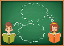 Students thinking with speech bubbles. Stock Images