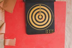 Students Throw darts for skill test. stock image