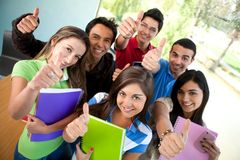 Students with thumbs up Stock Photos