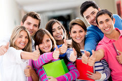Students with thumbs up Stock Photo